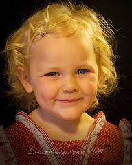 A blond girl with a tiny hairclip