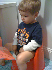Boy sitting on a potty