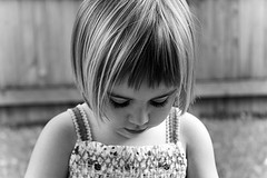 Little girl with a bob haircut