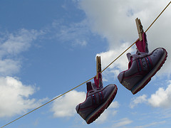 Shoes drying on a line