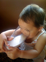 Toddler (baby) drinking milk