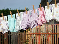 Training pants drying on a line